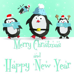Happy New Year blue greeting card with cute four penguins vector illustration