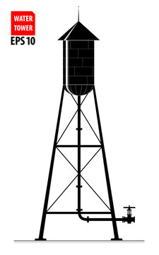 The contour of the old water tower in the United States. Black and white.