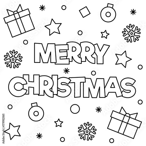 merry christmas coloring page vector illustration