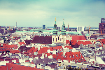 Wall Mural - Aerial view of the old city of Vienna from St. Stephen's Cathedral, Austria, Europe.