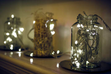 Bokeh retro style of  bottle or jar lantern.