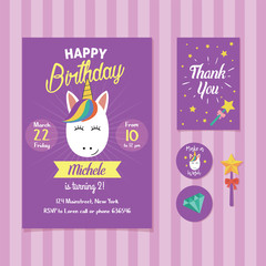Unicorn Birthday Invitation Template with Cute Unicorn Face Illustration