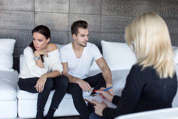 Young man and woman on couple therapy