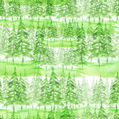 Seamless watercolor pattern, background. Green spruce, pine, cedar, larch, abstract forest, silhouette of trees.