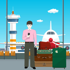 European Man with Luggage at the Airport, View through the Window at the Runway and Control Tower, Travel Concept, Vector Illustration