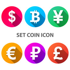 Dollar, Bitcoin, Yen, Euro Ruble Pound icon Vector eps 10