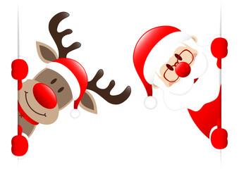 Rudolph & Santa Banner Inside