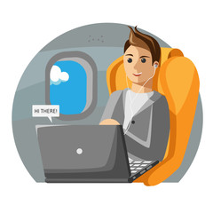 A man sits on a plane in business class. Vector illustration.