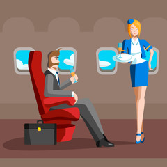 A man sits in a plane the business class, the flight attendant brings him something. Vector illustration.