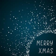 Merry Xmas greeting card. Random falling white dots background. Random falling white dots on blue background. Amazing vector illustration.