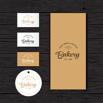 Bakery logo. The bakery identity. A package, a price tag and a business card of the bakery.