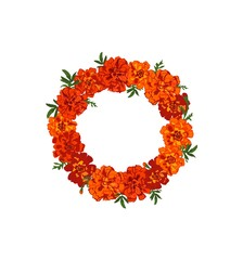 Floral wreath with red and orange marigold flowers isolated on white background