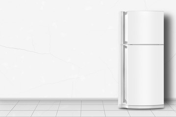 Home appliance -  Refrigerator in front of white wall
