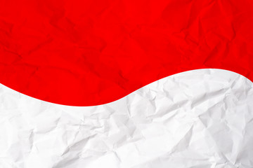 Indonesia Flag Motif at White Crumpled Paper