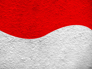 Indonesia Flag Motif at White Cement Wall