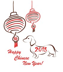 Greeting for Chinese New year 2018 with hand drawing hanging Chinese lantern and brown dachshund silhouette and hieroglyph