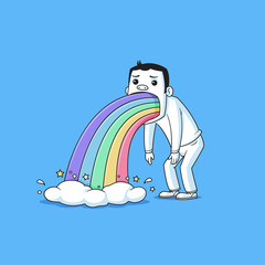 Sad man puking rainbows vector cartoon illustration