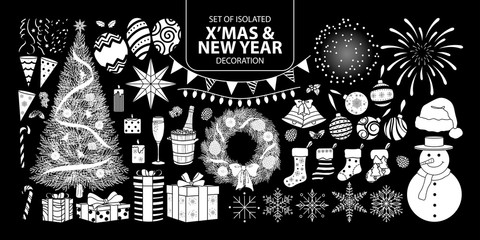 Set of isolated white silhouette decoration for Christmas and New year. Vector illustration in white plane no outline.