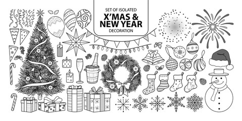Set of isolated decoration for Christmas and New year. Vector illustration in black outline and white plane.