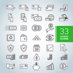 Simple Set of Credit Card Related Vector Line Icons. Set of money and payment methods thin line icons. Contains icons as pay online, bank check, mobile wallet, mobile payment, credit card and more.