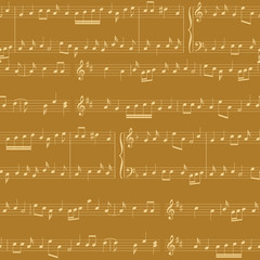 vector background - golden seamless pattern with music notes