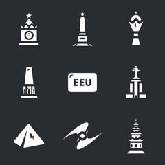 Vector Set of Eurasian Economic Union and candidates landmarks Icons.