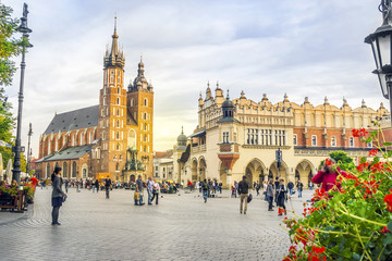 St. Mary's church and Cloth's Hall by sunset, Krakow, Poland