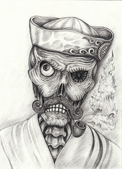 Art Design Old Men Skull. Hand pencil drawing on paper.
