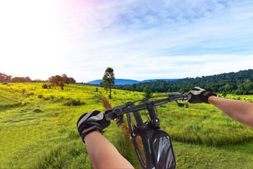 Mountain biker in autumn forest,strong and young woman riding mountain bike up on the peak of mountain to take winning challenge