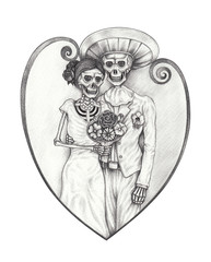 Art Design Wedding Skull Day of the dead. Hand pencil drawing on paper.