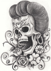 Art Design Skull Day of the dead. Hand pencil drawing on paper.