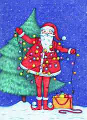 hand drawn picture of Santa Claus decorating Christmas tree and tangled in a garland in the snowy night. New Year background illustration.