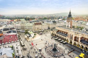 Obraz Rynek w Krakowie widziany z lotu ptaka - fototapety do salonu