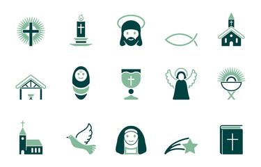 Christliche Weihnachten - Iconset in Grün