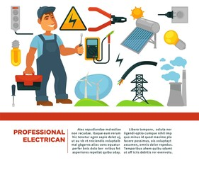 Professional electrician services promotional poster with man in uniform