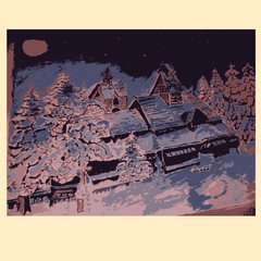 Vector image of a house in winter