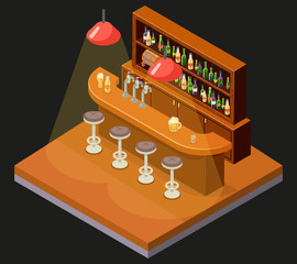 Isometric Pub Bar Restaurant Cafe Symbol Alcohol Beer House Interior 3d Icon Background Concept Flat Design Template Vector Illustration