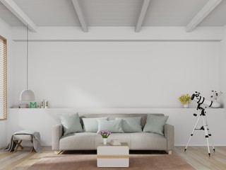Bright and cozy modern living room interior have sofa and lamp with white wall background. 3d rendering