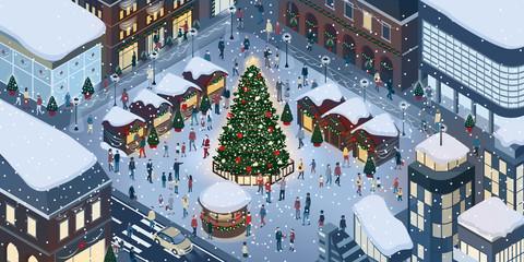 People celebrating Christmas together