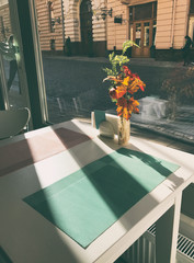 The table in the cafe in the morning