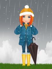 illustration of girl with umbrella