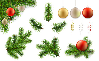 Christmas set with pine tree branches and christmas balls. Vector elements for design greeting cards.