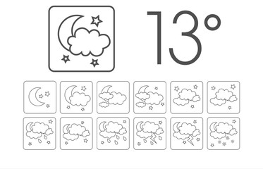Weather vector icons flat design - Set12