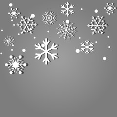 Falling snowflakes on gray background. Vector