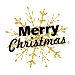 Merry Christmas lettering with golden ornaments