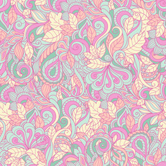Seamless pink paisley pattern. Vector background for textile, print, wallpapers, wrapping.