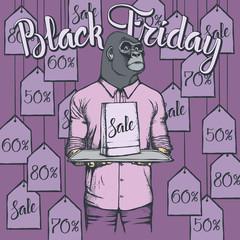 Vector illustration of monkey on Black Friday