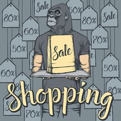 Vector illustration of monkey on Black Friday