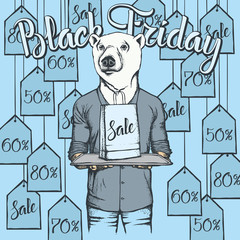 Vector illustration of bear on Black Friday