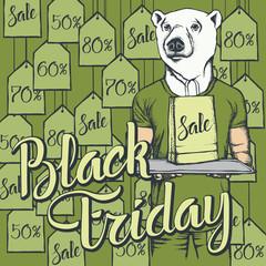 Vector illustration of bear on Black Friday